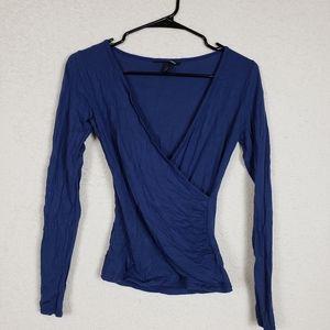 H&M blue deep vneck long sleeve size XS
